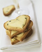 Valentine's Day biscuits with passion fruit icing on napkin