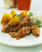 Lamb stew with potatoes, coriander and rice (India)