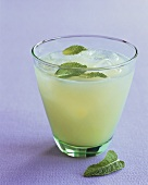 Lemon drink with mint and ice cubes