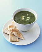 Herb soup with flatbread
