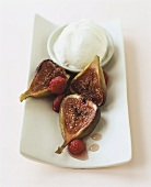 Baked figs with raspberries and ice cream