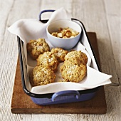Macadamia biscuits in blue roasting tin
