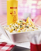 Mayonnaise with sweetcorn, peppers and thyme