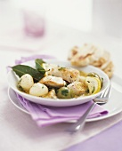 Chicken fillet with olives, lemon and bay leaves