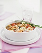 Seafood soup with tomatoes