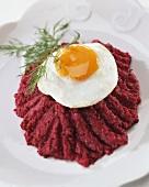 Corned beef Labskaus, matje herrings & beetroot with fried egg