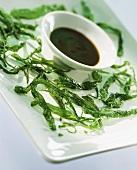 Deep-fried Thai spinach with tamarind sauce