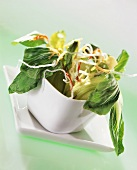 Sweet and sour baby pak choi with crispy glass noodles