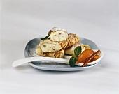 Topfenpalatschinken (cottage cheese pancakes) & apricot compote