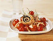 Turkey rolls with cherry tomatoes