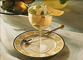 Lemon sorbet with fresh lemon balm