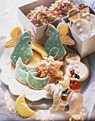 Assorted shaped Christmas biscuits with glacé icing