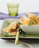 Tofu slices in sesame panade with carrot puree