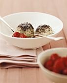 Quark and poppy seed dumplings with raspberries