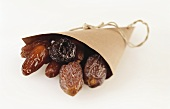 Dried dates in paper bag