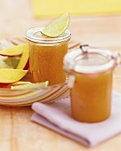 Mango jam in two jars