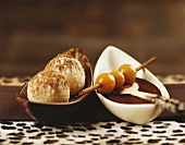 Semolina dumplings with gianduja cream and physalis