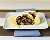 Poppy seed strudel with pears