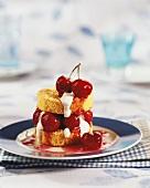 Polenta cakes with cherries
