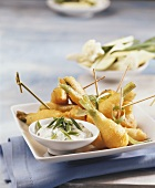 Spring onions in batter with quark dip