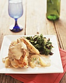 Chicken with white sauce and broccoli