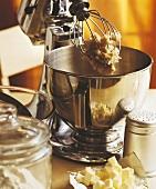 Cake mixture in food processor