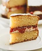 A piece of Victoria sponge cake (England)