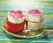 Pear and ice cream soufflés with sprinkles