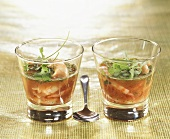 Shrimps in tomato aspic with coriander leaves