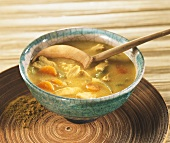 Curried chicken soup with vegetables