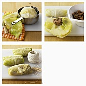 Making stuffed cabbage leaves