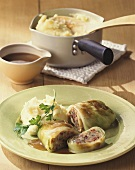 Cabbage roulades with beer sauce and mashed potato