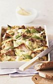 Cheese and leek bake with roast pork