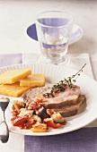 Roast pork with ratatouille and polenta