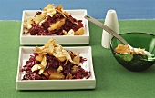 Red cabbage salad with celery crisps