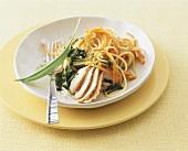 Turkey with spaghetti, carrots and pesto