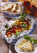 Fish with Stilton and peppers, cooked in foil