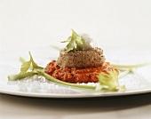 Steamed veal fillet on tomato relish