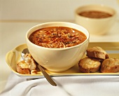 Cabbage soup with cheese croutons