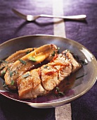 Grouper fillet with caramelised bananas