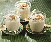 Banana mousse with cinnamon in glasses (Caribbean)