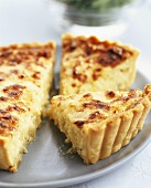 Onion tart, cut into pieces