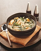 Chicken broth with pearl barley and vegetables