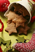 Star biscuits in Christmassy bag