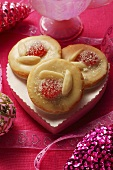 Christmassy almond biscuits with cherries