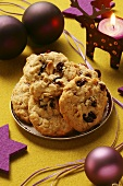 Christmas biscuits with nuts and raisins