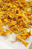 Marigold petals laid out to dry
