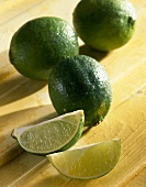 Lime and lime wedges (citrus aurantiifolia)