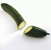 Cucumber (Cucumis sativus), cut in half
