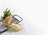Grated cheese with grater and herbs